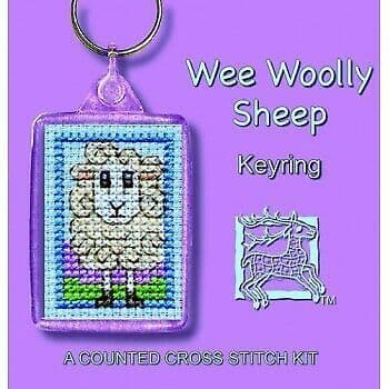 Wee Woolly Sheep Counted Cross Stitch Keyring Kit